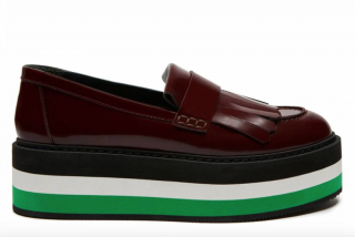 Mulberry Oxblood Leather Flag Fringe Platform Loafers