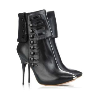 Alexander McQueen Black Fold-Over Ankle Boots