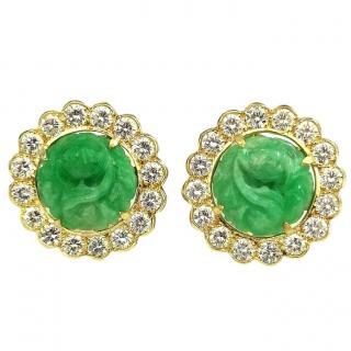 Bespoke Jade & Diamond Hand Carved Earrings