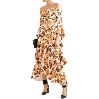 Ellery Orange Floral Print Ruffled Midi Skirt