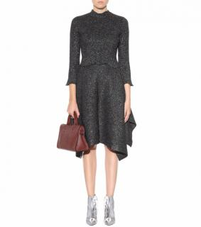 Balenciaga Metallic Knit Cropped Sweater and Skirt Set