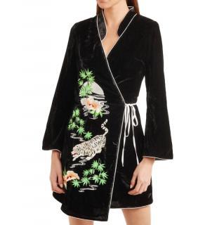 Rixo Iris Black Embroidered Velvet Wrap Dress