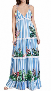 Rococo Sand Blue Stripe Blossom Maxi Dress