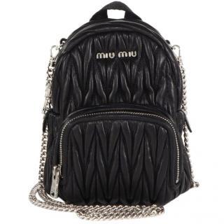 Miu Miu Black Leather Mini Backpack
