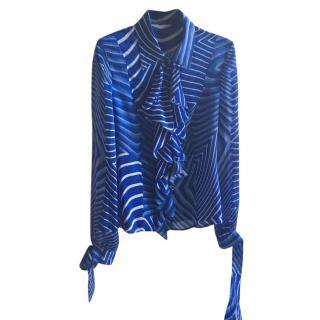 Escada Blue Silk Blouse