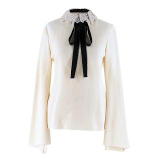 Ellery Cream Double-Crepe Jersey Top