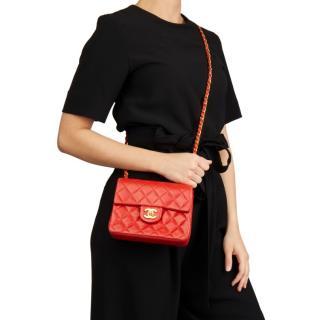 Chanel Vintage Red Lambskin Mini Flap Bag