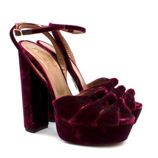 Aquazzura Red Mira Velvet Ankle-Strap Platform Sandals