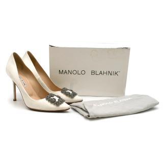 Manolo Blahnik Hangisi Off-White Satin Jewel Buckle Pumps