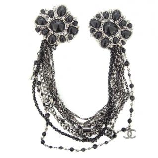 Chanel Black Beaded Crystal Embellished Multi-Strand Chain Brooch