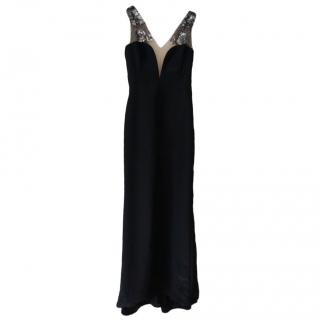 Mikael Aghal Shoulder Embellished Black Gown