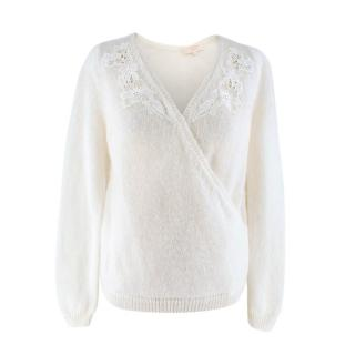 La Maille Sezane Cream Twist-front Wool-blend Sweater