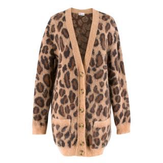 Red Valentino Leopard Print Knit Cardigan