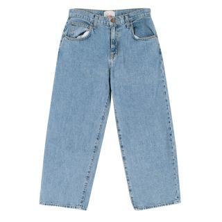 Current Elliott Pale Blue High Waist Cropped Jeans