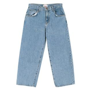Current Elliott Pale Blue High Waist Cropped Jeans
