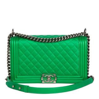 Chanel Green Lambskin Medium Boy Bag