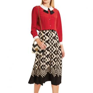 Gucci Red Pleated Placket Silk Blouse