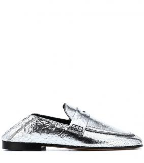 Isabel Marant Fezzy Metallic Cracked-Leather Collapsible Silver Shoes