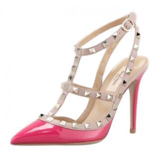 Valentino Rockstud Neon-Pink Pumps