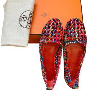 Hermes Printed Silk Braided Minorque Ballerina Flats