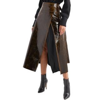 Beaufille Pistol Satin-trimmed Coated Wrap Midi Skirt