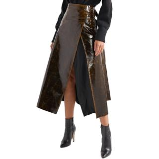 Beaufille Pistol Satin-trimmed Coated Wrap Midi Skirt
