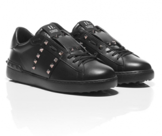 Valentino Rockstud Untitled Black Leather Trainers