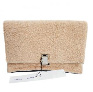 Proenza Schouler shearling small lunch leather clutch