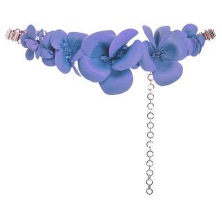 Elie Saab Lavender Leather Blossom Gold Chain Belt