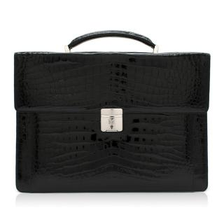 Maison Black Crocodile Briefcase W/ White Gold & Diamond Hardware