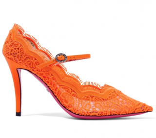 Gucci Virginia Crystal-Embellished Corded Lace Mary-Jane Pumps