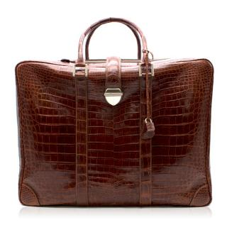Bespoke Brown Matte Crocodile Leather Carry-On Suitcase