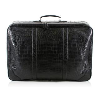 Bespoke large black matte crocodile leather suitcase