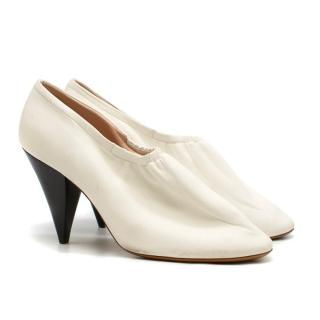 Celine White Soft Leather Ballerina Cone Heel Pumps
