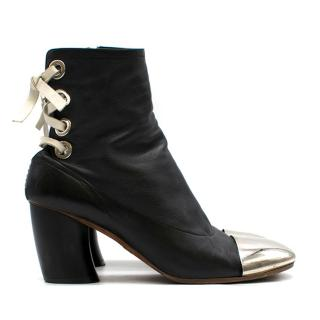 Proenza Schouler metal-cap lace-back leather ankle boots
