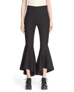 Ellery Black Sinuous Wool-blend Cropped Flared Trousers
