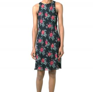 Saint Laurent Black & Red Rose Print Shift Dress