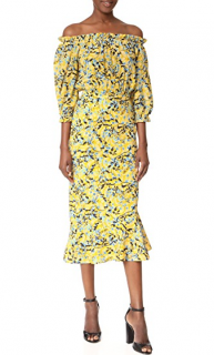 Saloni Grace Floral Silk Midi Dress