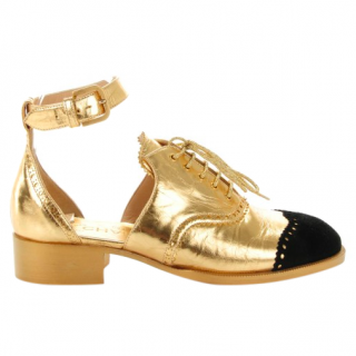Chanel cut-out gold leather brogue sandals