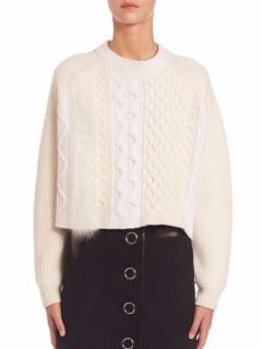 Alexander Wang Cream Cable Knit Wool-Blend Sweater