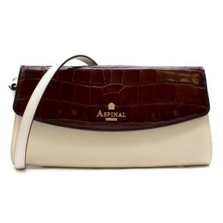 Aspinal of London White and Burgundy Shoulder Bag