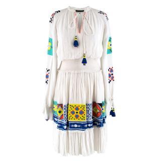 Hemant & Nandita embroidered smocked-waist cotton dress