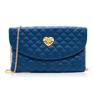 Love Moschino Blue Quilted Clutch Bag