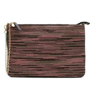 M Missoni Pink and Black Leather Clutch