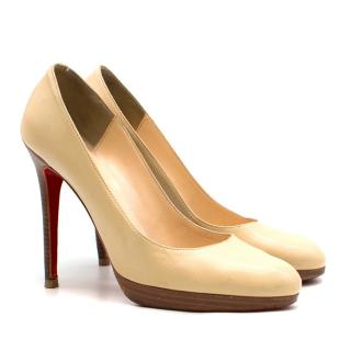 Christian Louboutin Cream Leather Wooden Pumps