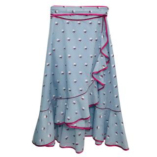 Marc by Marc Jacobs Floral Print Blue Midi Skirt