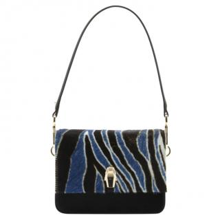 Cavalli Class Blue Zebra Print Calf Leather Shoulder Bag