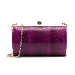 Aspinal of London Purple Snake Effect Leather Clutch Bag
