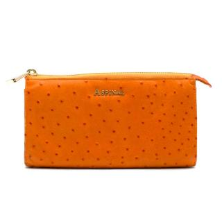 Aspinal of London Orange Ostrich Zip Wallet Clutch
