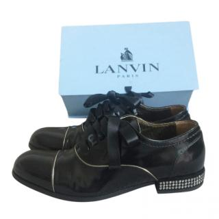 Lanvin Leather & Satin Emnellished Lace-Up Shoes